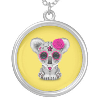 Pink Day of the Dead Baby Koala Silver Plated Necklace