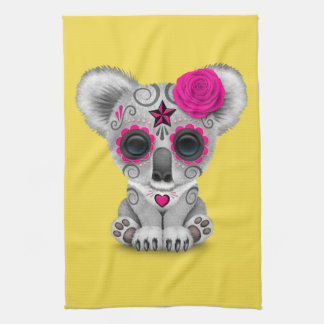 Pink Day of the Dead Baby Koala Tea Towel