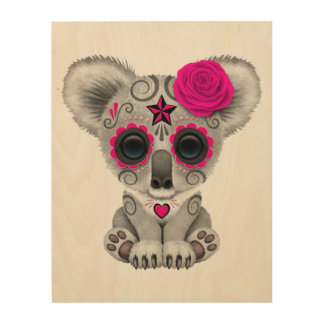 Pink Day of the Dead Baby Koala Wood Wall Decor