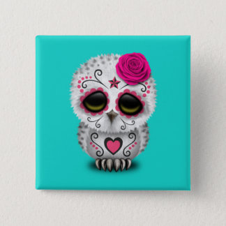 Pink Day of the Dead Baby Owl 15 Cm Square Badge