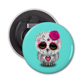 Pink Day of the Dead Baby Owl Bottle Opener