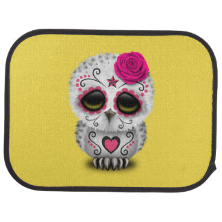 Pink Day of the Dead Baby Owl Car Mat
