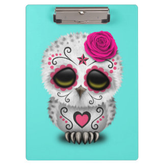 Pink Day of the Dead Baby Owl Clipboard