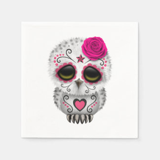 Pink Day of the Dead Baby Owl Disposable Serviettes