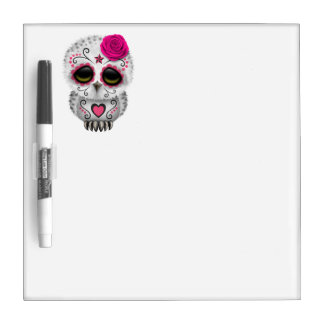 Pink Day of the Dead Baby Owl Dry Erase Board