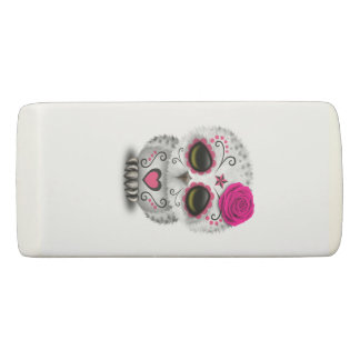 Pink Day of the Dead Baby Owl Eraser