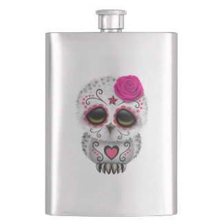 Pink Day of the Dead Baby Owl Hip Flask