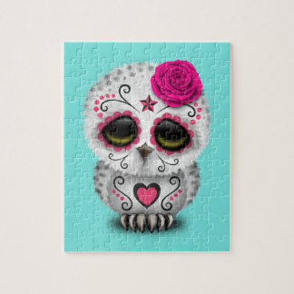 Pink Day of the Dead Baby Owl Jigsaw Puzzle