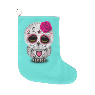 Pink Day of the Dead Baby Owl Large Christmas Stocking
