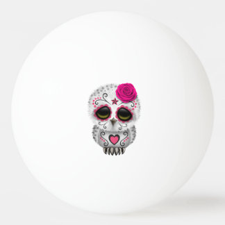 Pink Day of the Dead Baby Owl Ping Pong Ball
