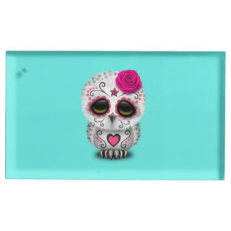 Pink Day of the Dead Baby Owl Place Card Holder