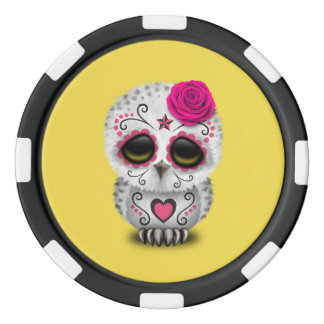 Pink Day of the Dead Baby Owl Poker Chips
