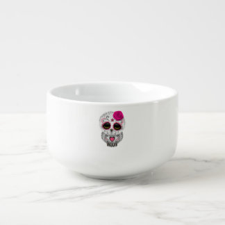 Pink Day of the Dead Baby Owl Soup Mug