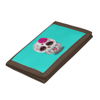 Pink Day of the Dead Baby Owl Tri-fold Wallets