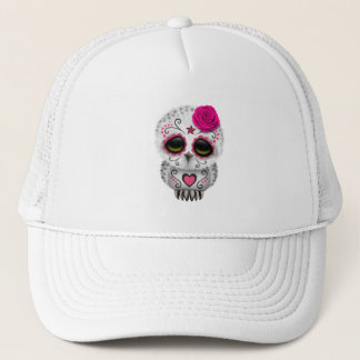 Pink Day of the Dead Baby Owl Trucker Hat