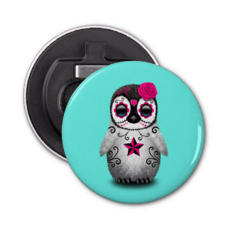 Pink Day of the Dead Baby Penguin Bottle Opener