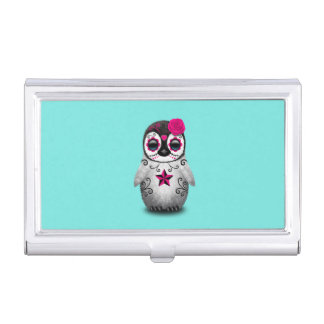 Pink Day of the Dead Baby Penguin Business Card Holder