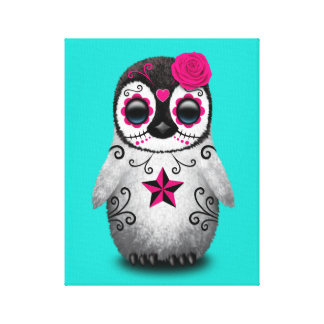 Pink Day of the Dead Baby Penguin Canvas Print