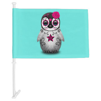 Pink Day of the Dead Baby Penguin Car Flag