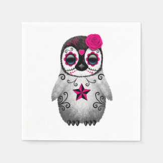 Pink Day of the Dead Baby Penguin Disposable Napkin