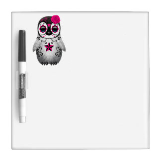 Pink Day of the Dead Baby Penguin Dry Erase Board