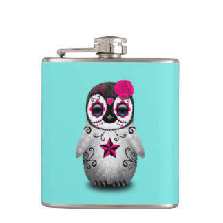 Pink Day of the Dead Baby Penguin Hip Flask