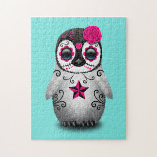 Pink Day of the Dead Baby Penguin Jigsaw Puzzle