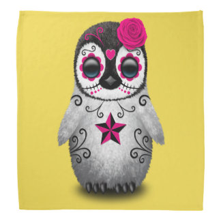 Pink Day of the Dead Baby Penguin Kerchief