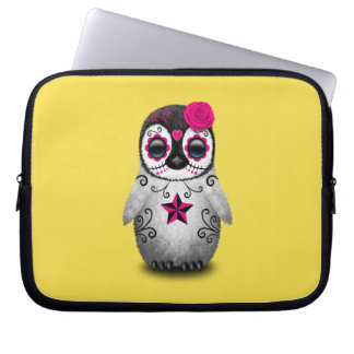 Pink Day of the Dead Baby Penguin Laptop Sleeves