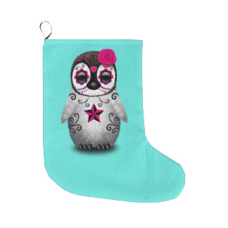 Pink Day of the Dead Baby Penguin Large Christmas Stocking