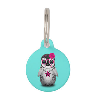 Pink Day of the Dead Baby Penguin Pet Tag