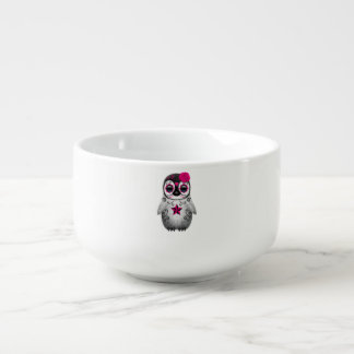 Pink Day of the Dead Baby Penguin Soup Mug