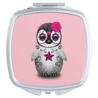 Pink Day of the Dead Baby Penguin Travel Mirror