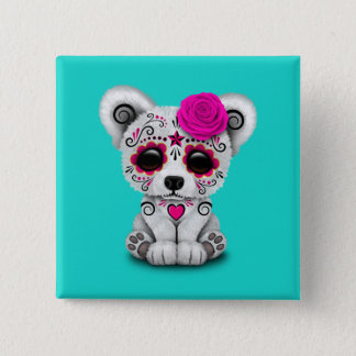 Pink Day of the Dead Baby Polar Bear 15 Cm Square Badge