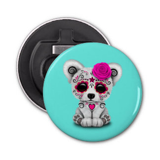 Pink Day of the Dead Baby Polar Bear Bottle Opener
