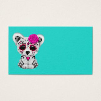 Pink Day of the Dead Baby Polar Bear Business Card