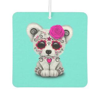 Pink Day of the Dead Baby Polar Bear Car Air Freshener
