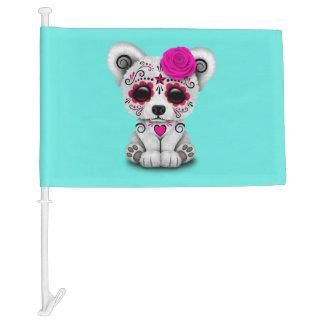 Pink Day of the Dead Baby Polar Bear Car Flag