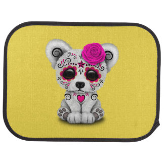 Pink Day of the Dead Baby Polar Bear Car Mat