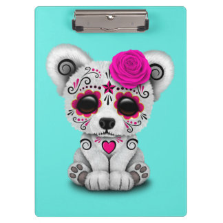 Pink Day of the Dead Baby Polar Bear Clipboard