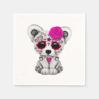 Pink Day of the Dead Baby Polar Bear Disposable Napkin
