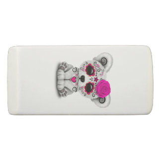Pink Day of the Dead Baby Polar Bear Eraser