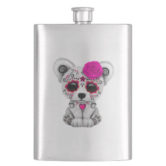 Pink Day of the Dead Baby Polar Bear Hip Flask