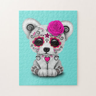 Pink Day of the Dead Baby Polar Bear Jigsaw Puzzle