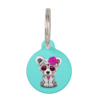 Pink Day of the Dead Baby Polar Bear Pet Tag