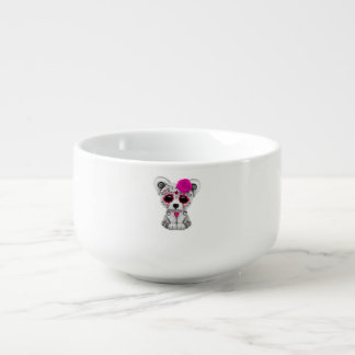 Pink Day of the Dead Baby Polar Bear Soup Mug