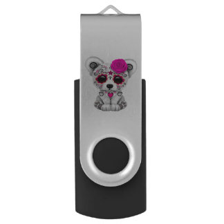 Pink Day of the Dead Baby Polar Bear USB Flash Drive