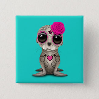 Pink Day of the Dead Baby Sea Lion 15 Cm Square Badge