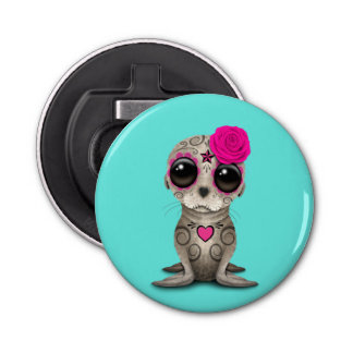 Pink Day of the Dead Baby Sea Lion Bottle Opener