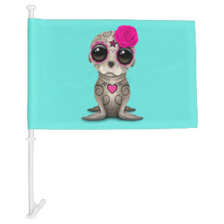 Pink Day of the Dead Baby Sea Lion Car Flag